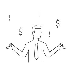 businessman relax on mediation portrait view on vector image