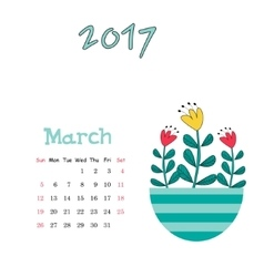 Calendar template for March 2017 with cute vector