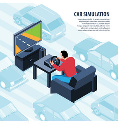 Car simulator videogame background vector