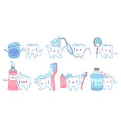 cartoon dental care teeth cleaning vector image