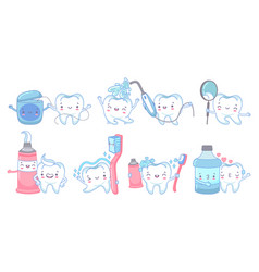 cartoon dental care teeth cleaning with vector image