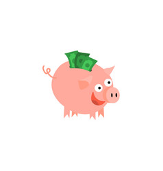 Cartoon piggy bank with happy facial vector