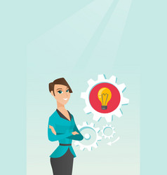 Caucasian woman with business idea bulb in gear vector