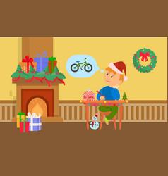 Christmas holidays boy writing letter to santa vector