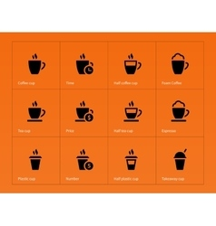 Coffee cup icons on orange background vector image