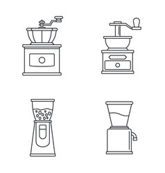 Coffee grinder appliance icon set outline style vector