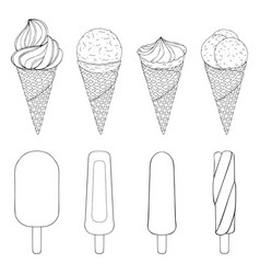 Collection of hand drawn ice cream vector