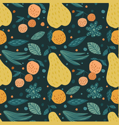 Contemporary fruits seamless pattern cherry vector
