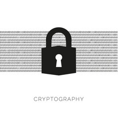 Cryptography concept with lock and binary code vector
