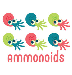 Cute ammonoids of prehistoric vector