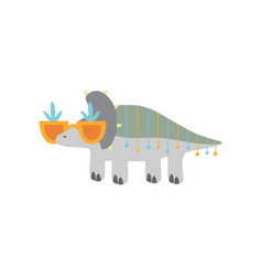 cute dinosaur in funny glasses funny colorful vector image