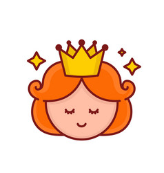 cute funny smiling girl princess face vector image