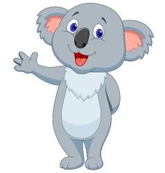 Cute koala cartoon hand waving vector