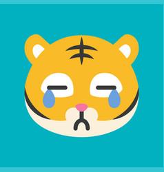 Cute tiger emoticon flat style vector