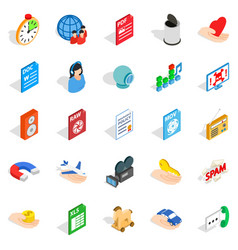 Data icons set isometric style vector