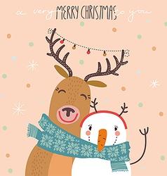 Deer and snowman vector image vector image