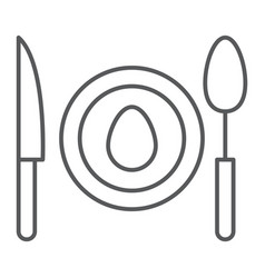 Dinner thin line icon food and dishware plate vector