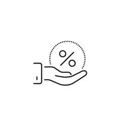 Discount in hand line icon on white background vector