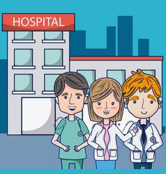 Doctors at hospital vector