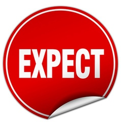 Expect round red sticker isolated on white vector