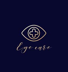 eye with plus line logo design vector image