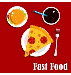 Fast food icons with pizza burger and soda vector