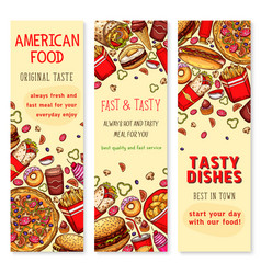 fast food restaurant welcome banner set design vector image