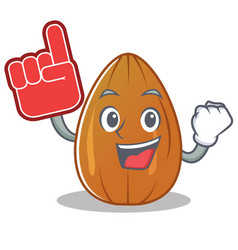 Foam finger almond nut character cartoon vector