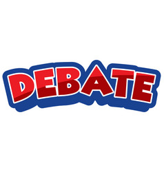 font design for word debate in red color vector image