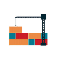 Global shipping icon with tower crane vector