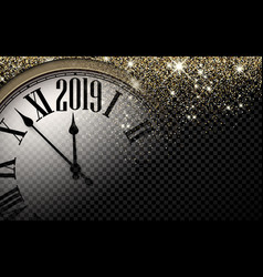 Gold shiny 2019 new year background with clock vector