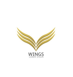 Golden wings label vector