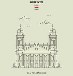 great protestant church in debrecen vector image