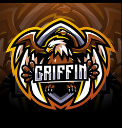 Griffin esport mascot logo design vector