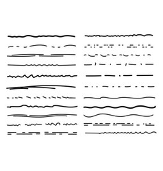 Hand drawn underlines drawing brush lines pencil vector