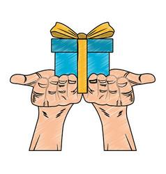 Hands holding giftbox pop art scribble vector