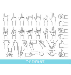 hands showing gestures outline set vector image
