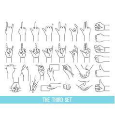 Hands showing gestures outline set vector
