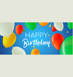 Happy birthday banner of color party balloons vector