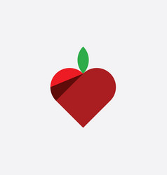Heart shape apple logo icon symbol element vector