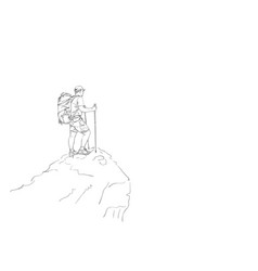 hiker with backpack on top mountain hand drawn vector image