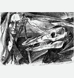 Image nightmare on halloween night vector