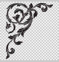 Isolate corner ornament in baroque style vector