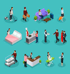 Isometric hotel services set vector