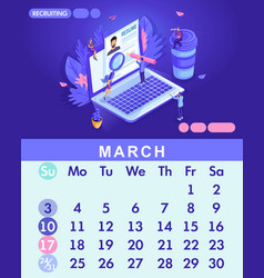 isometric month march from set calendar of 2019 vector image