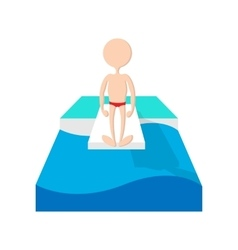 Jumping in a pool cartoon icon vector