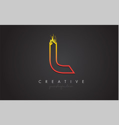 l letter design with golden outline and grunge vector image