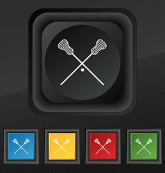 Lacrosse Sticks crossed icon symbol Set of five vector