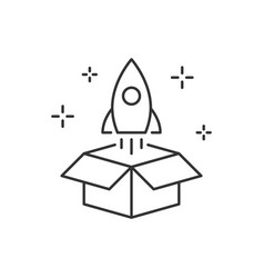 launch rocket from box linear vector image