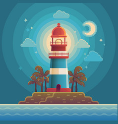 Lighthouse on the coast of sea vector